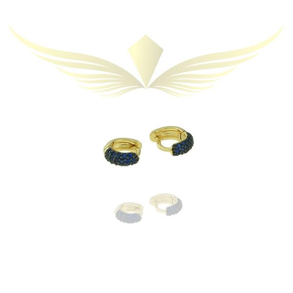 Brinco Argola Zircônia Lesprit Dourado Azul