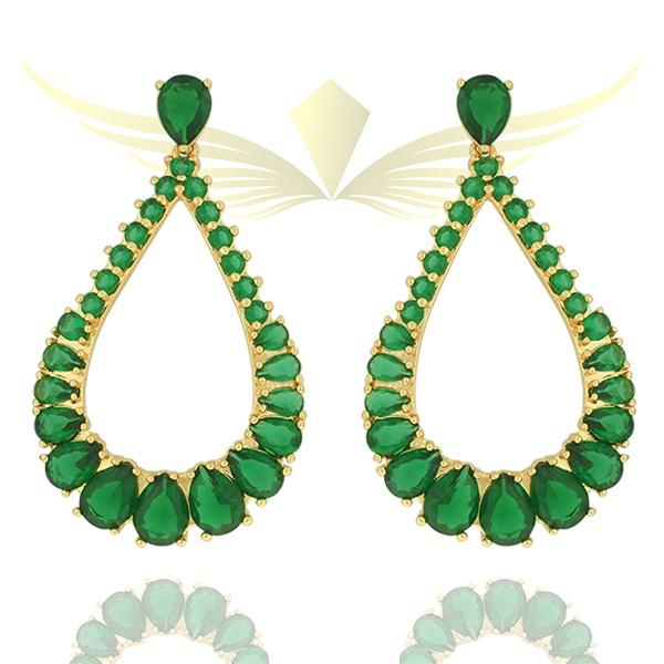 Brinco Zircônia Lesprit 10001 Dourado Verde Esmeralda
