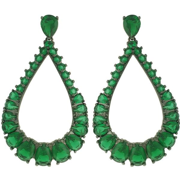 Brinco Zircônia Lesprit 10001 Ródio Negro Verde Esmeralda