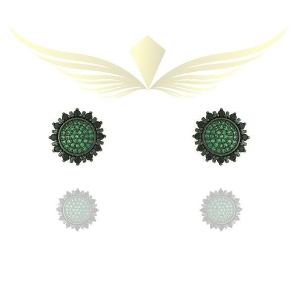 Brinco Zirconia Lesprit 12027 Ródio Negro Verde Preto
