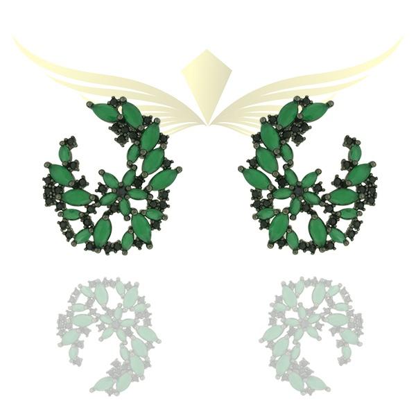 Brinco Zircônia Lesprit Ródio Negro Verde Leitosa