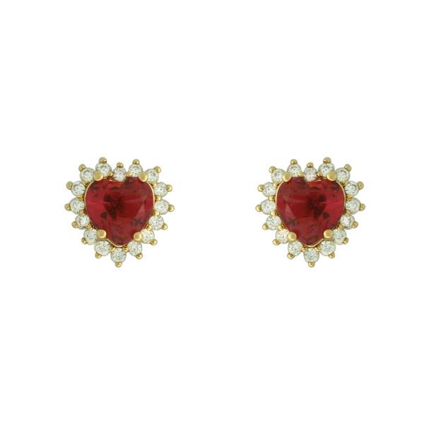 Brinco Coração Zircônia Lesprit 13202 Dourado Rubi