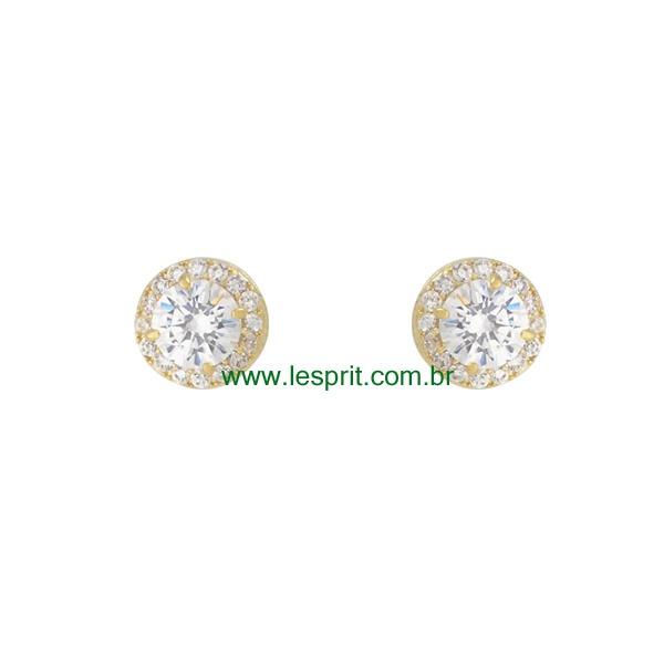 Brinco Zircônia Lesprit 00031 Dourado Cristal