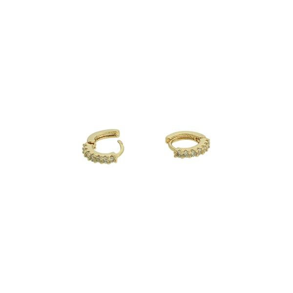 Brinco Argola Zircônia Lesprit U11A040631 Dourado Cristal