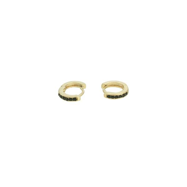 Brinco Argola Zircônia Lesprit U17K090051 Dourado Preto