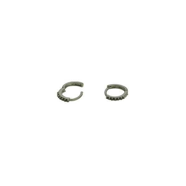 Brinco Argola Zircônia Lesprit U17K130121 Ródio Negro Preto