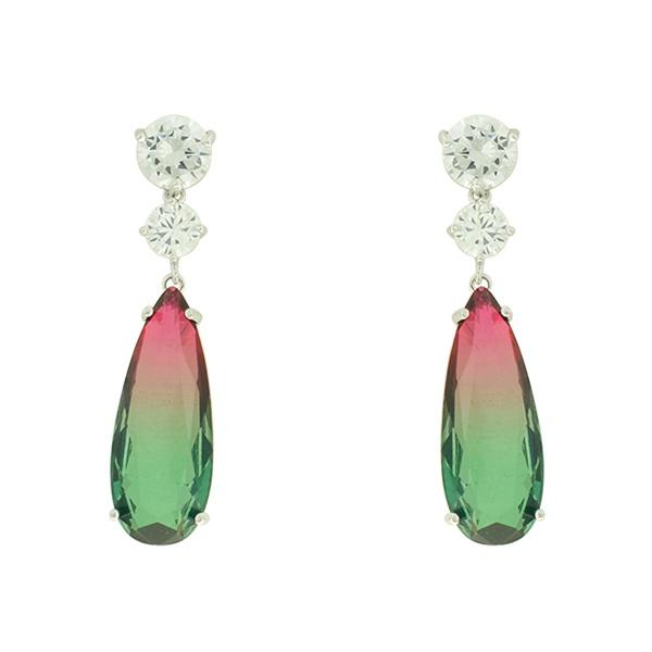 Brinco Zirconia Lesprit U18A030011 Ródio Cristal Rainbow Rubi e Verde