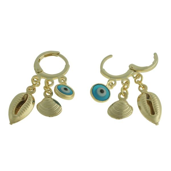 Brinco Olho Grego Metal Lesprit 2121 Dourado Azul