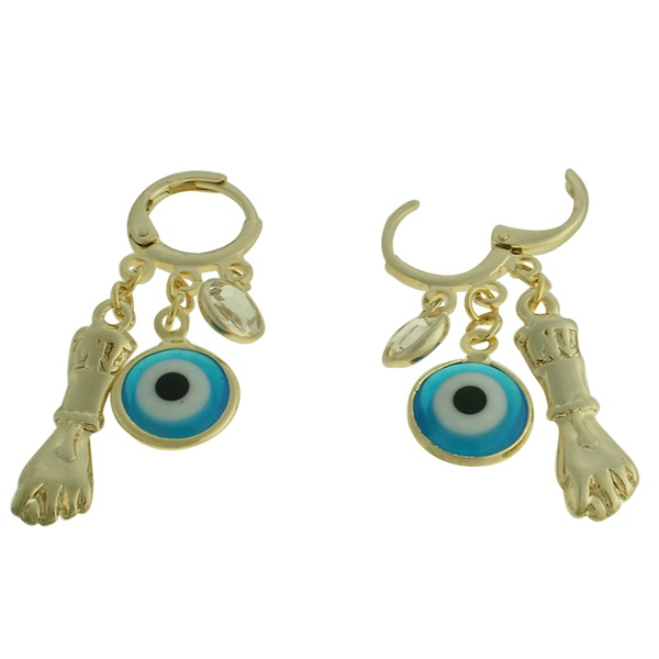Brinco Metal Olho Grego Lesprit 2131 Dourado Azul