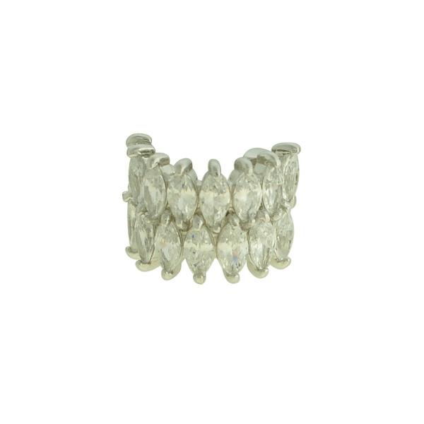 Brinco Piercing de Pressão Zircônia Lesprit LB23041 Ródio Cristal