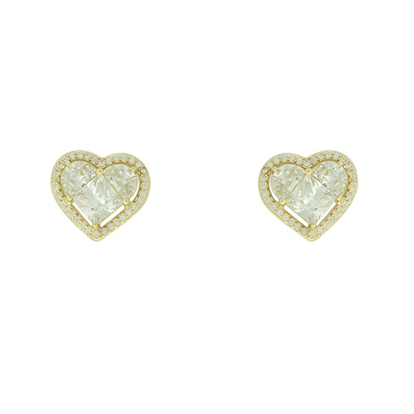 Brinco Zircônia Lesprit LB11711WGL Dourado Cristal