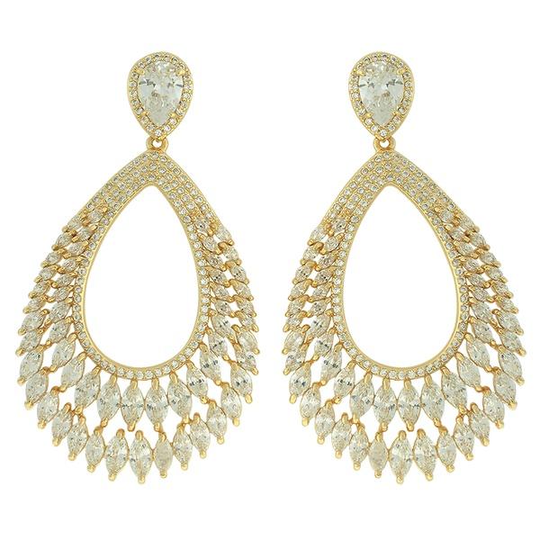Brinco Zircônia Lesprit LB15331 Dourado Cristal