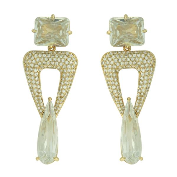 Brinco Zircônia Lesprit LB21601 Dourado Cristal