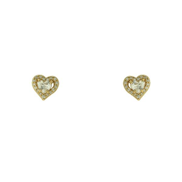Brinco Zircônia Lesprit LB21651WGL Dourado Cristal