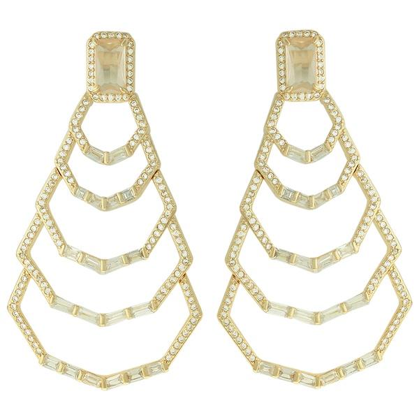 Brinco Zircônia Lesprit LB22631 Dourado Cristal
