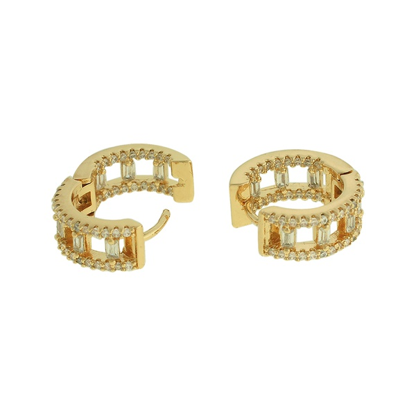 Brinco Argola Zircônia Lesprit LB22661 Dourado Cristal