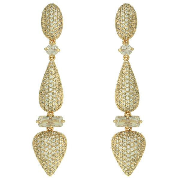 Brinco Zircônia Lesprit LB22771 Dourado Cristal
