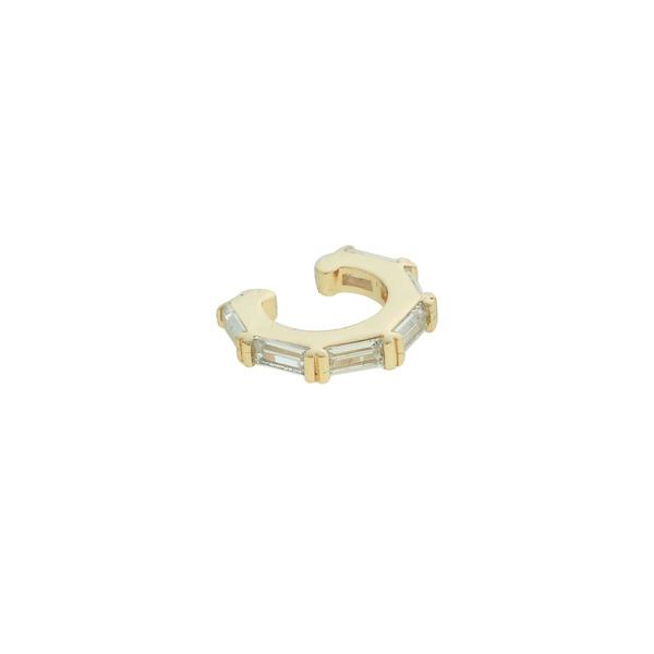 Brinco Piercing de Pressão Zircônia Lesprit LB22791WGL Dourado Cristal