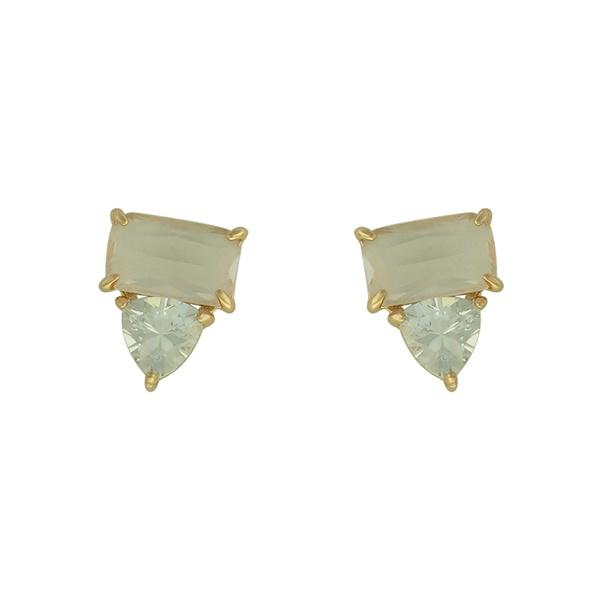 Brinco Zircônia Lesprit LB22881 Dourado Cristal Fusion