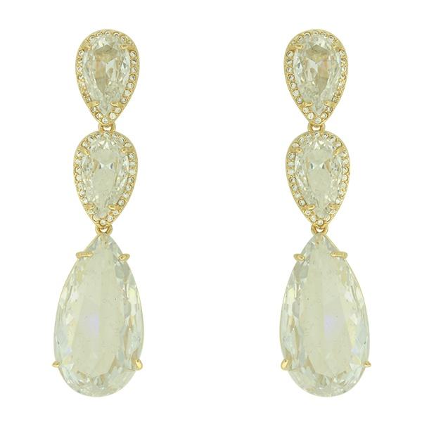 Brinco Zircônia Lesprit LB15981WGL Dourado Cristal