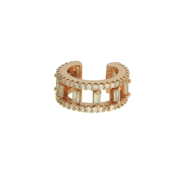 Brinco Piercing de Pressão Zircônia Lesprit LB22641 Rosé Cristal