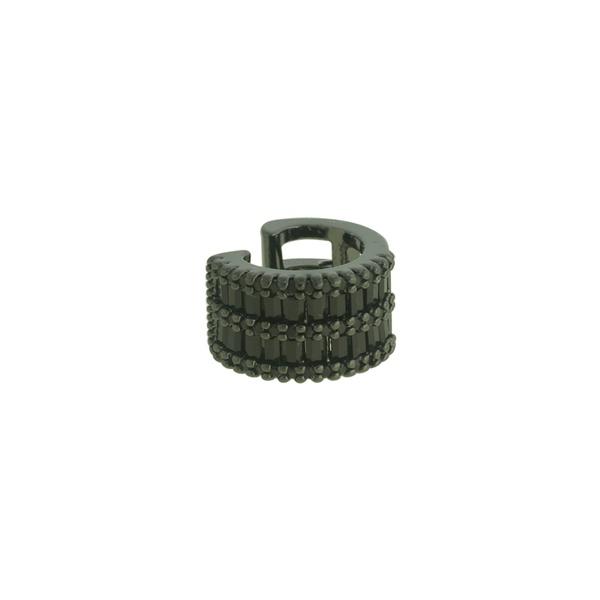 Brinco Piercing de Pressão Zircônia Lesprit LB14071BOBK Ródio Negro Preto