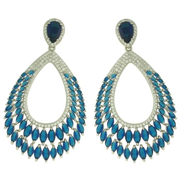 Brinco Zircônia Lesprit LB15331 Ródio Azul Safira