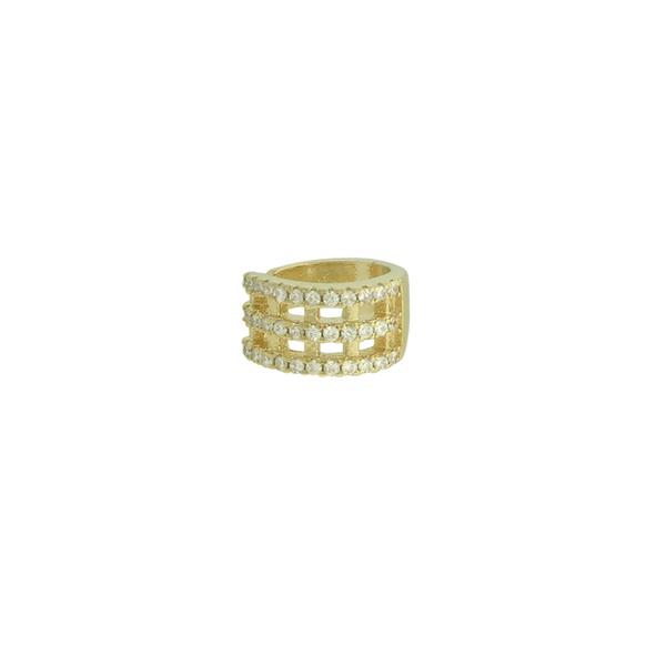 Brinco Piercing de Pressão Zircônia Lesprit 4661 Dourado Cristal