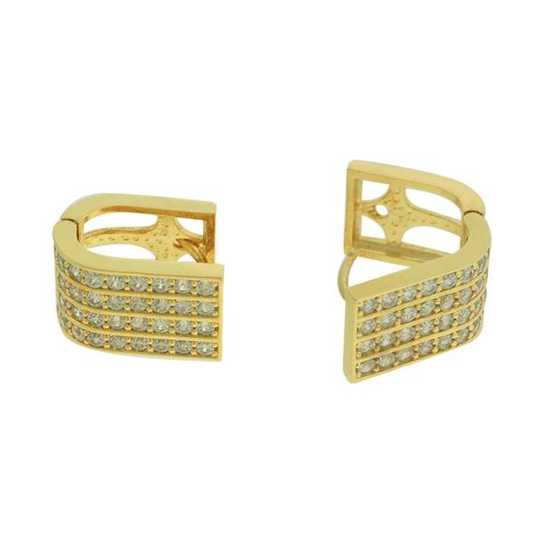 Brinco Argola Zircônia Lesprit M86381 Dourado Cristal
