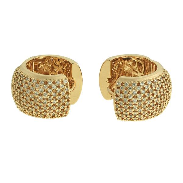 Brinco Argola Zircônia Lesprit 60043321 Dourado Cristal