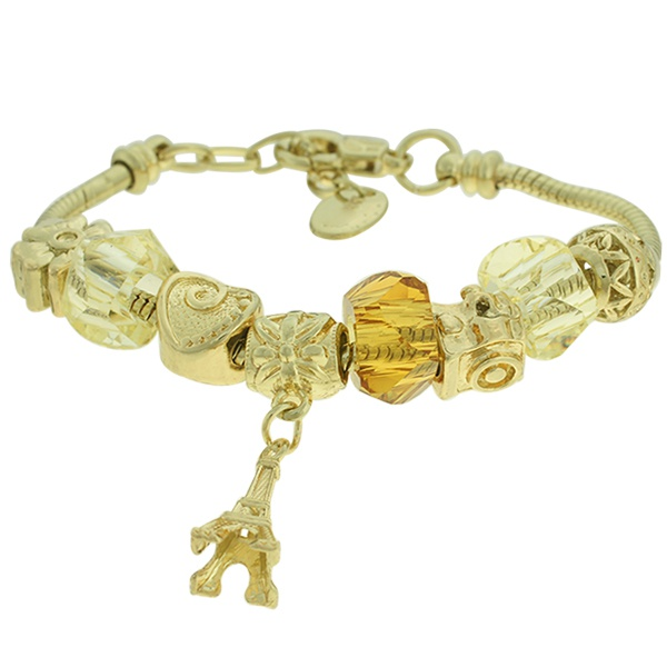 Pulseira Beloque Cristal Lesprit K03882-50700 Dourado Marrom