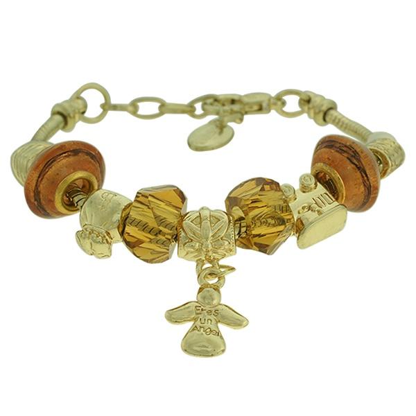 Pulseira Beloque Cristal Lesprit K03882-50820 Dourado Marrom