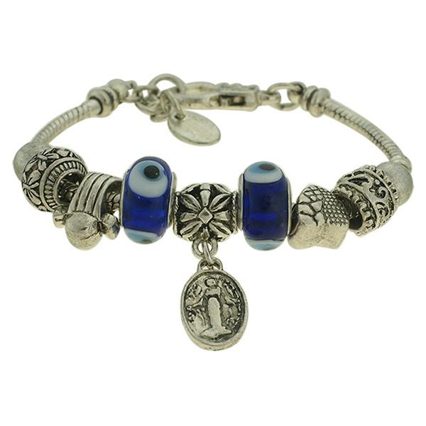 Pulseira Beloque Murano Lesprit K03882-38220 Prata Velha Azul
