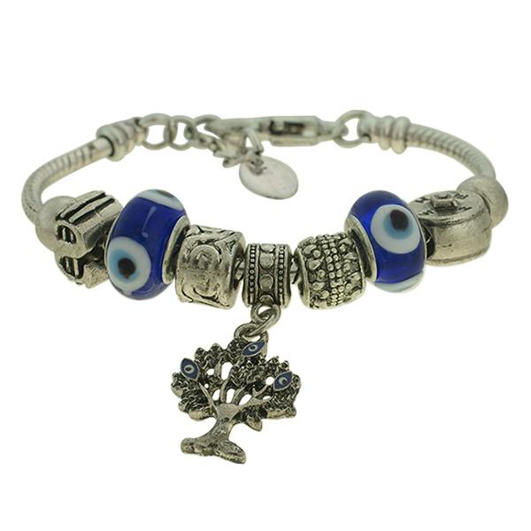 Pulseira Beloque Murano Lesprit K03882-38410 Prata Velha Azul