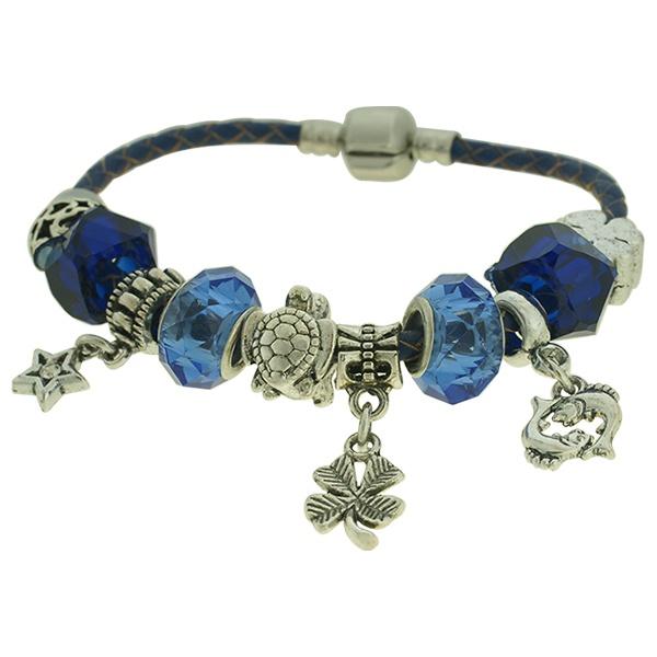 Pulseira Beloque Cristal Lesprit K03882-43890 Prateado Azul