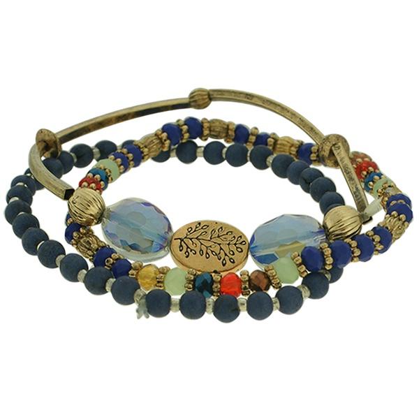 Pulseira Cristal Lesprit K03882-46271 Ouro Velho Azul