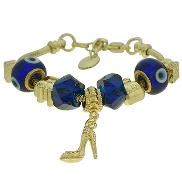 Pulseira Beloque Cristal Lesprit K03882-50770 Dourado Azul