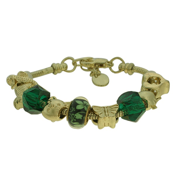 Pulseira Beloque Cristal Lesprit K03882-50640 Dourado Verde