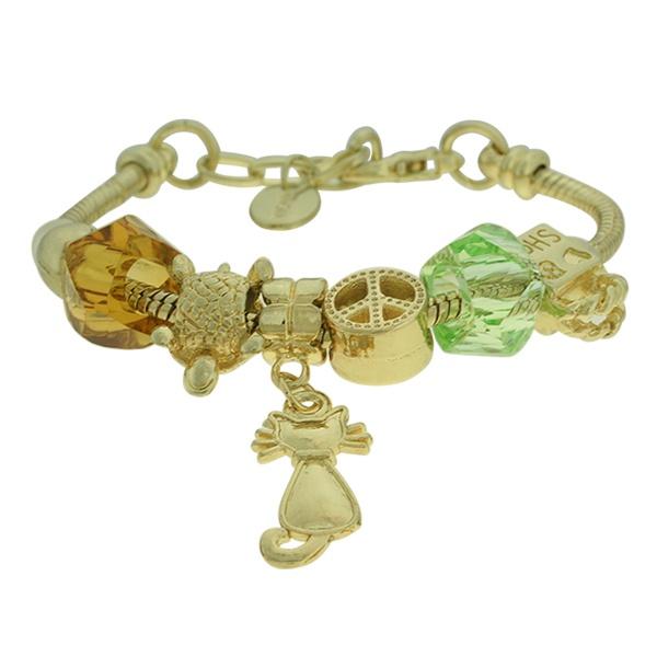 Pulseira Beloque Cristal Lesprit K03882-50970 Dourado Verde e Marrom