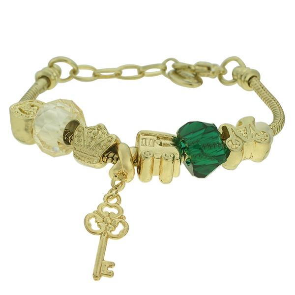 Pulseira Beloque Cristal Lesprit K03882-51030 Dourado Verde