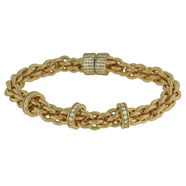 Pulseira Elos Zircônia Fecho Imã Lesprit 60096201 Dourado Cristal