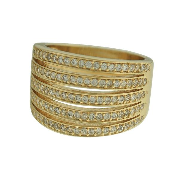 Anel Zircônia Lesprit 00022 Dourado Cristal