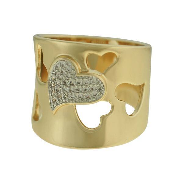 Anel Zircônia Lesprit 00058 Dourado Cristal