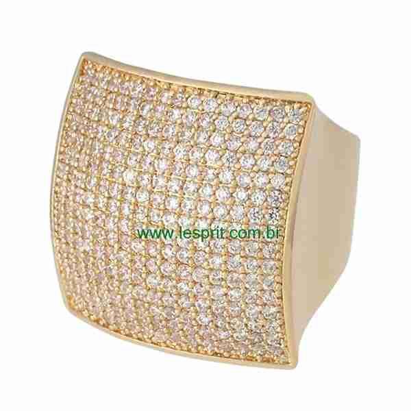 Anel Zircônia Lesprit LR03101 Dourado Cristal