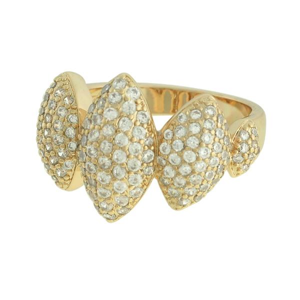 Anel Zircônia Lesprit LA10071 Dourado Cristal