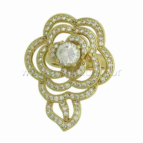 Anel Flor Zircônia Lesprit VMS83461 Dourado Cristal