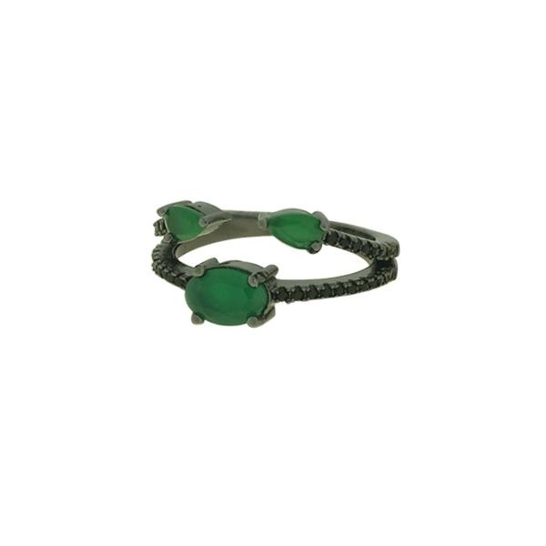 Anel Zircônia Lesprit PAN04971 Ródio Negro Preto e Verde Leitosa