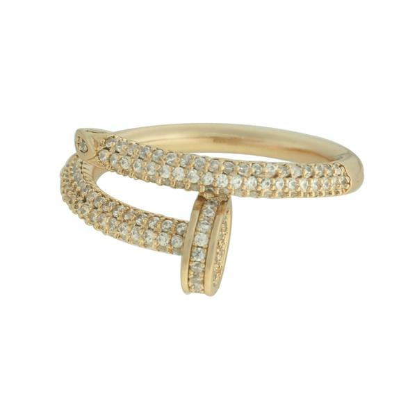 Anel Prego Zircônia Lesprit 600100121 Dourado Cristal