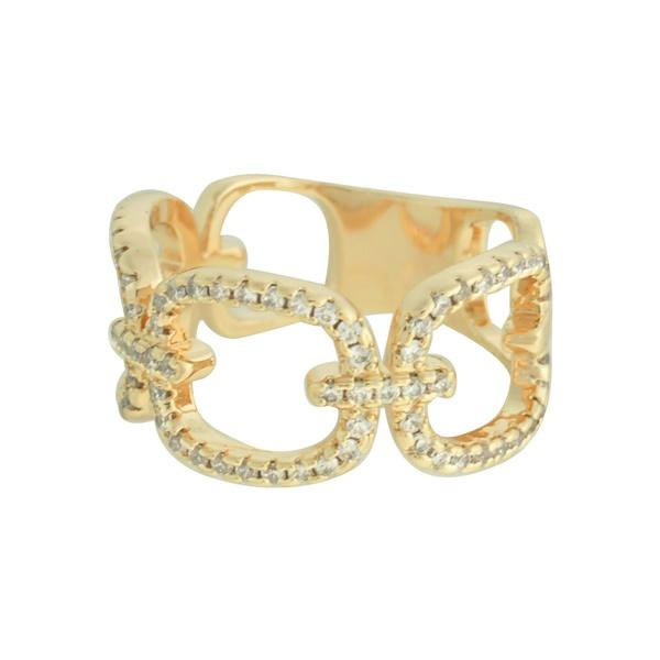 Anel Elos Zircônia Lesprit 68136501 Dourado Cristal