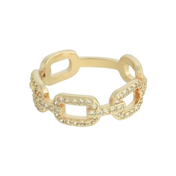 Anel Elos Zircônia Lesprit 68136511 Dourado Cristal